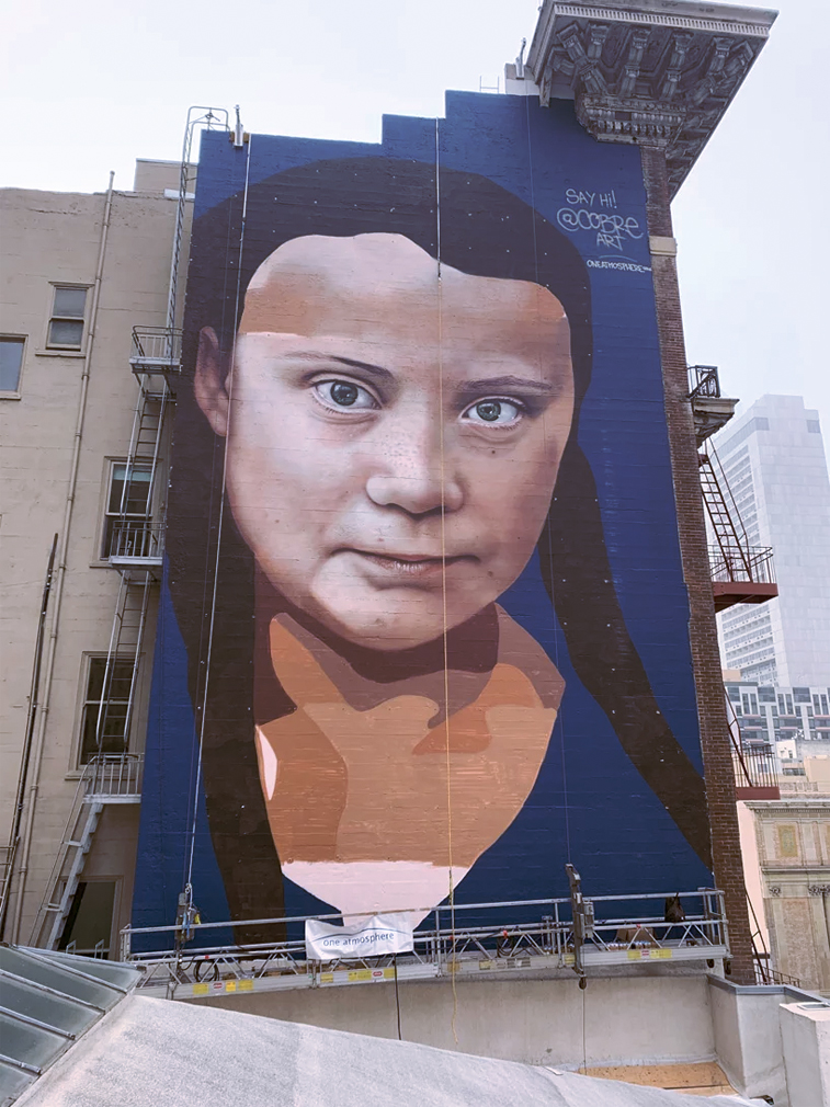 Greta Thunberg mural in San Francisco