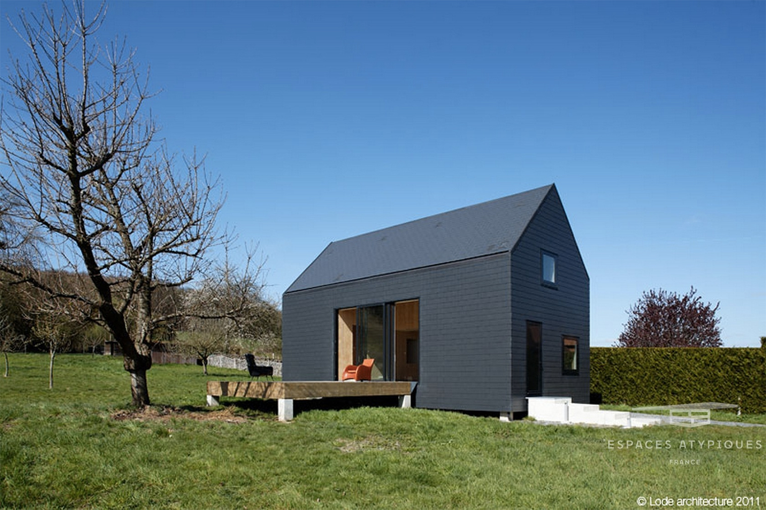 A monochrome cabin hits the market in Normandy for €300k
