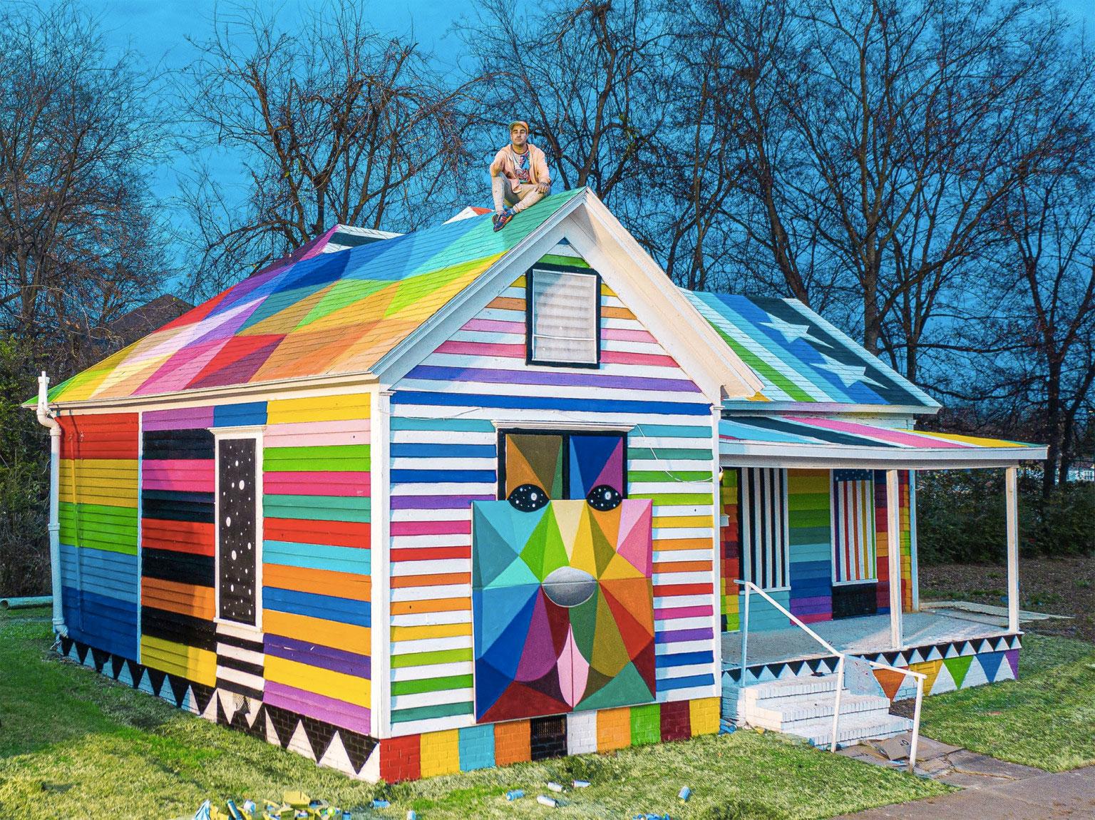 Artist Okuda San Miguel gives an Arkansas house a technicolour paint job