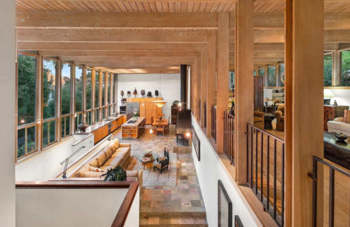 Midcentury Hollywood Hills home lists with two-storey living room