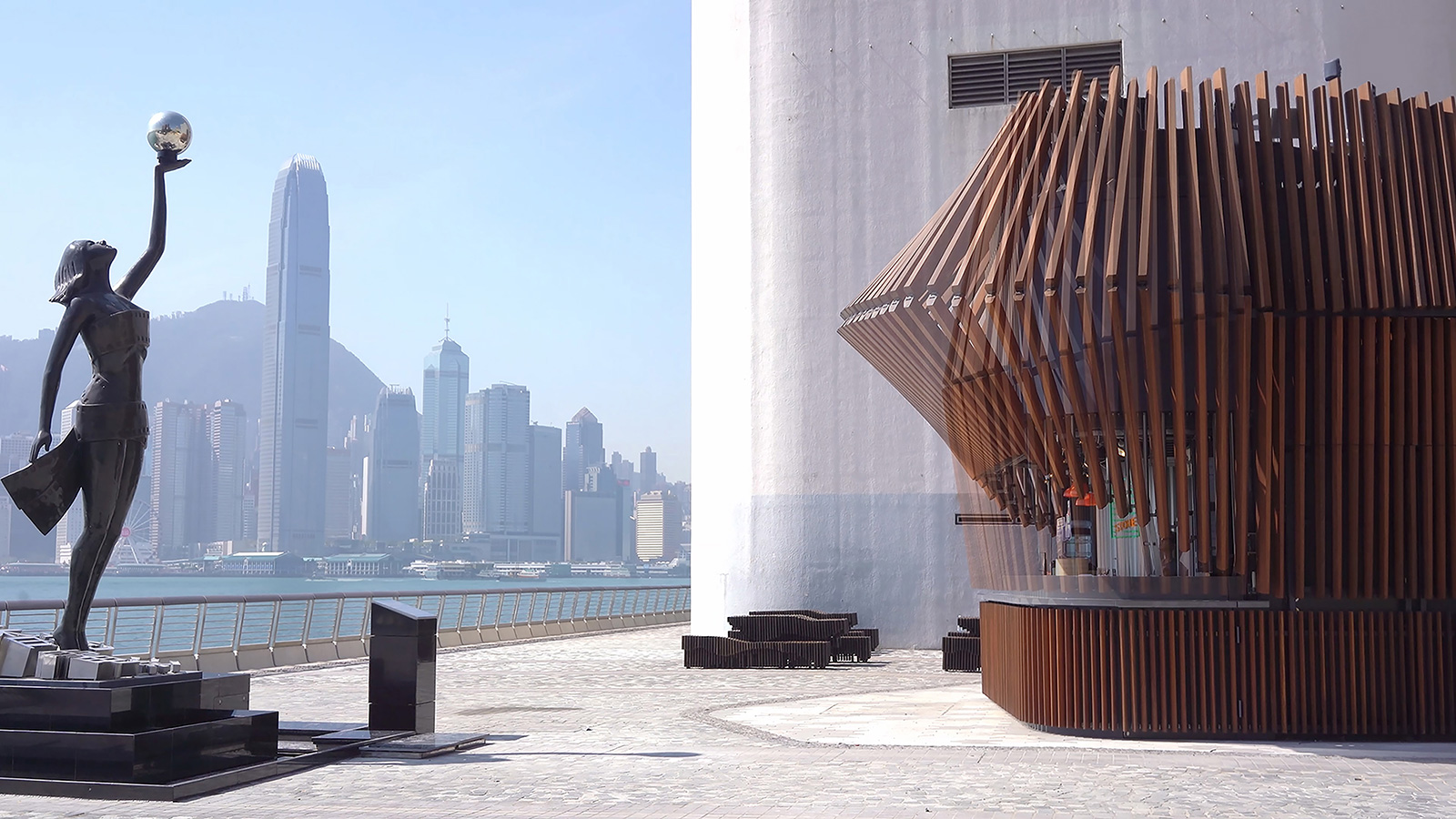 Kinetic architecture arrives in Hong Kong with the Harbour Kiosk. It's operated by 49 robotic arms