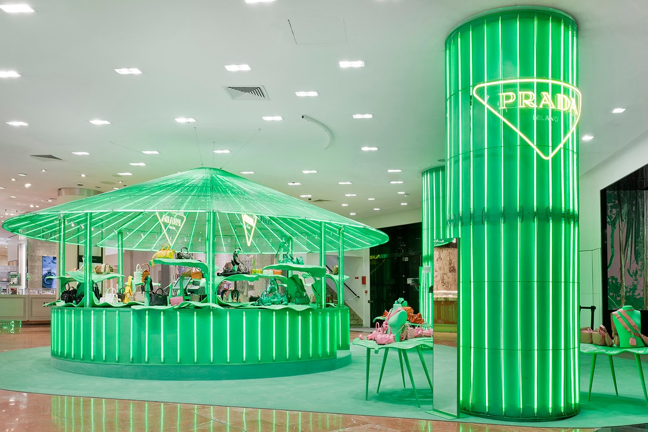 Tropical pavilions spring up inside Paris's Galeries Lafayette courtesy of Prada