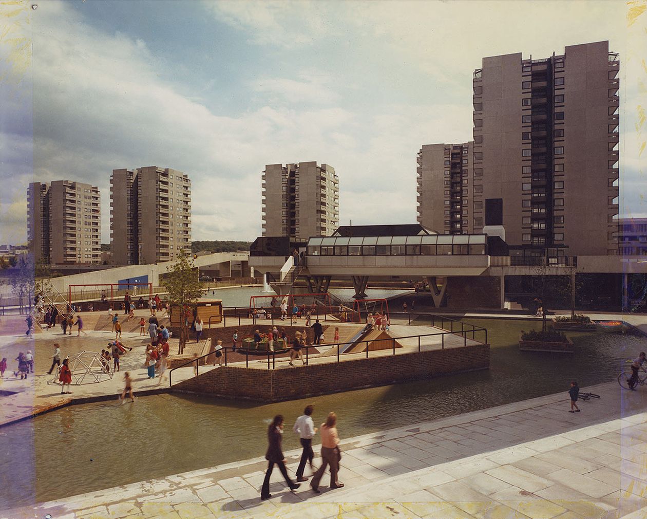 London Thamesmead: Children's playground and the Lakeside Health Centre, Tavy Bridge. 1973. (c) Bexley Local Studies & Archival Centre