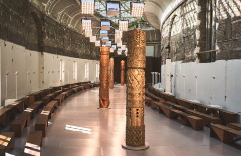 Gilded columns lined the runway of Chloé's AW20 show