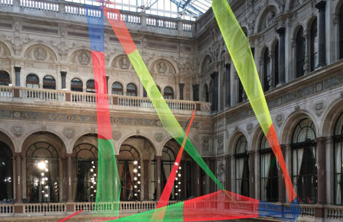 Artist Rana Begum strings a web of coloured nets above Roksanda Ilinčić's AW20 showspace