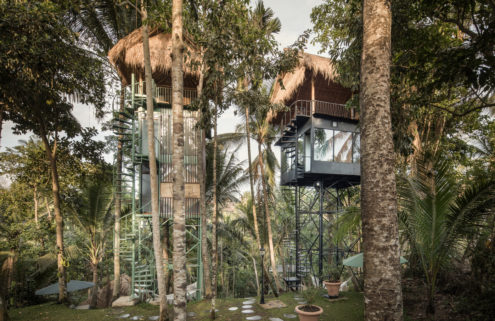 These treetop cabins in Indonesia have an unexpected industrial twist