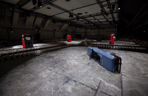 Virgil Abloh's Off-White AW20 runway was strewn with hacked-up automobiles