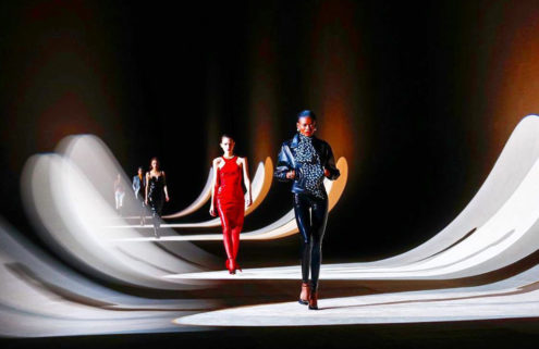 Saint Laurent bathed models in moving lights for its AW20 show