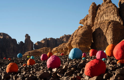 Over 300 brightly coloured boulders spring up in the canyons of Saudi Arabia for Desert X