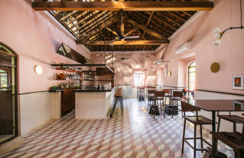 Pastel-hued Goa restaurant Mahé takes over a colonial mansion