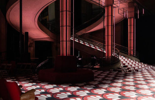 AMO drenched Auguste Perret's 'sober' Palais d'Léna in bold pattern for Miu Miu AW20