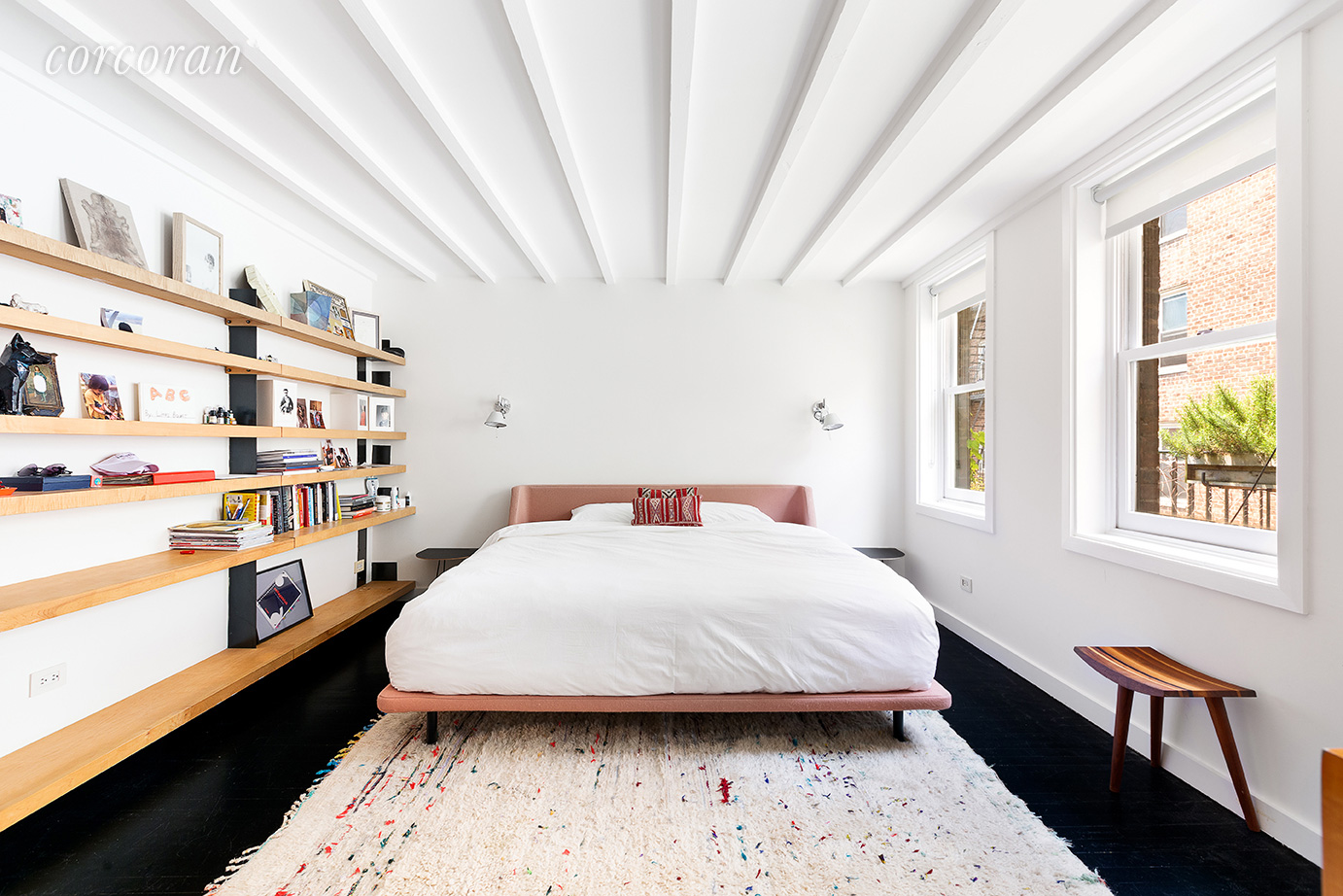 Raftered timber ceilings have been given a lick of paint