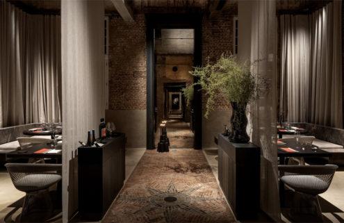 Patinaed brickwork sets the tone inside Antwerp's Stable restaurant