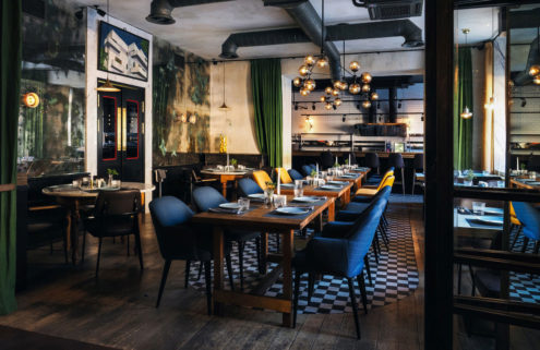 A moody colour palette sets the tone at this St Petersburg restaurant