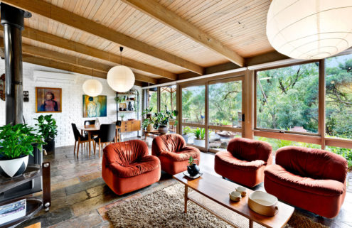 An interior designer's updated 1970s Fasham Johnson home is for sale outside of Melbourne