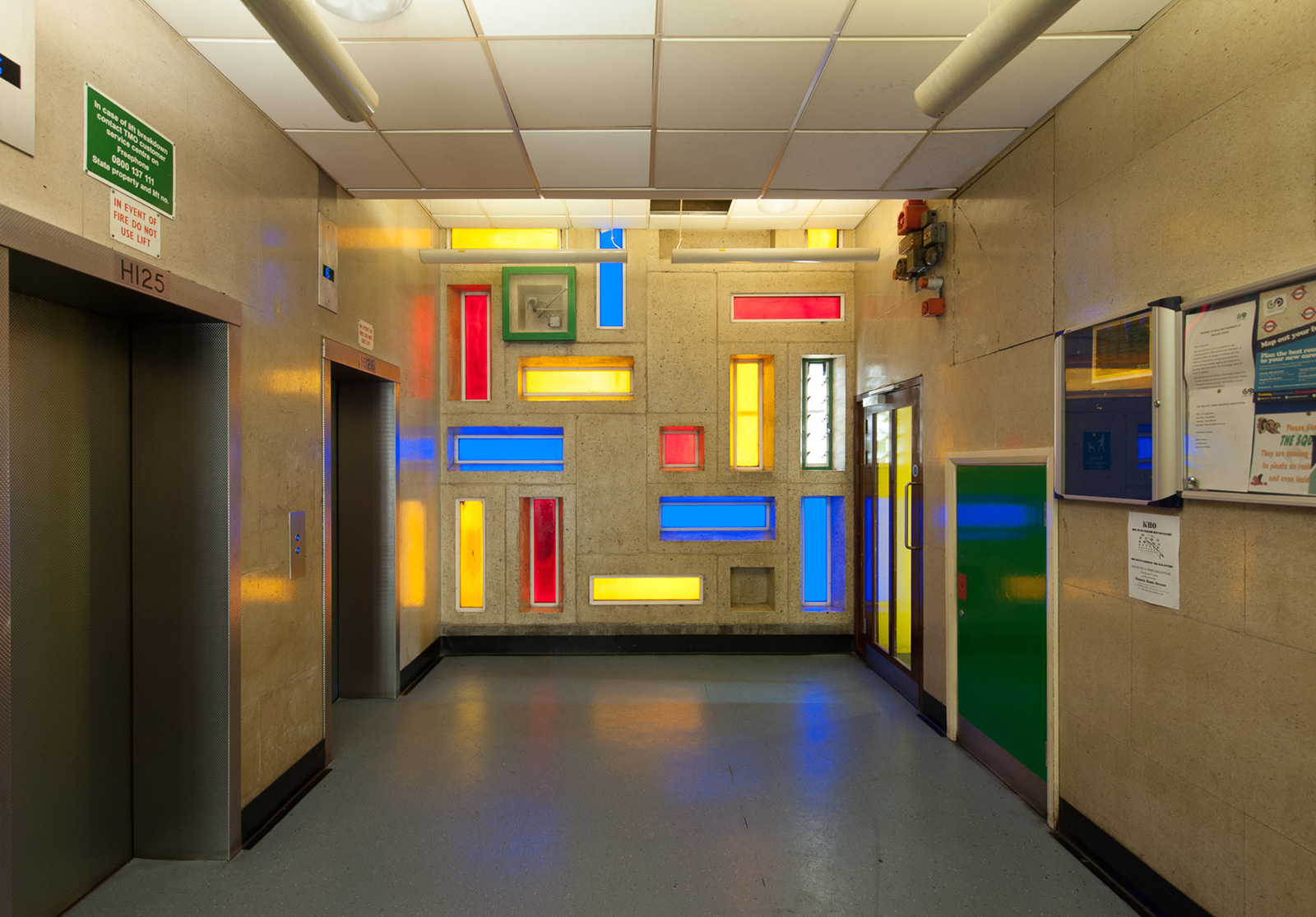 The colourful entrance at Trellick Tower