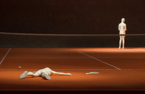 Elmgreen and Dragset play a game of tennis inside Berlin's König Gallery