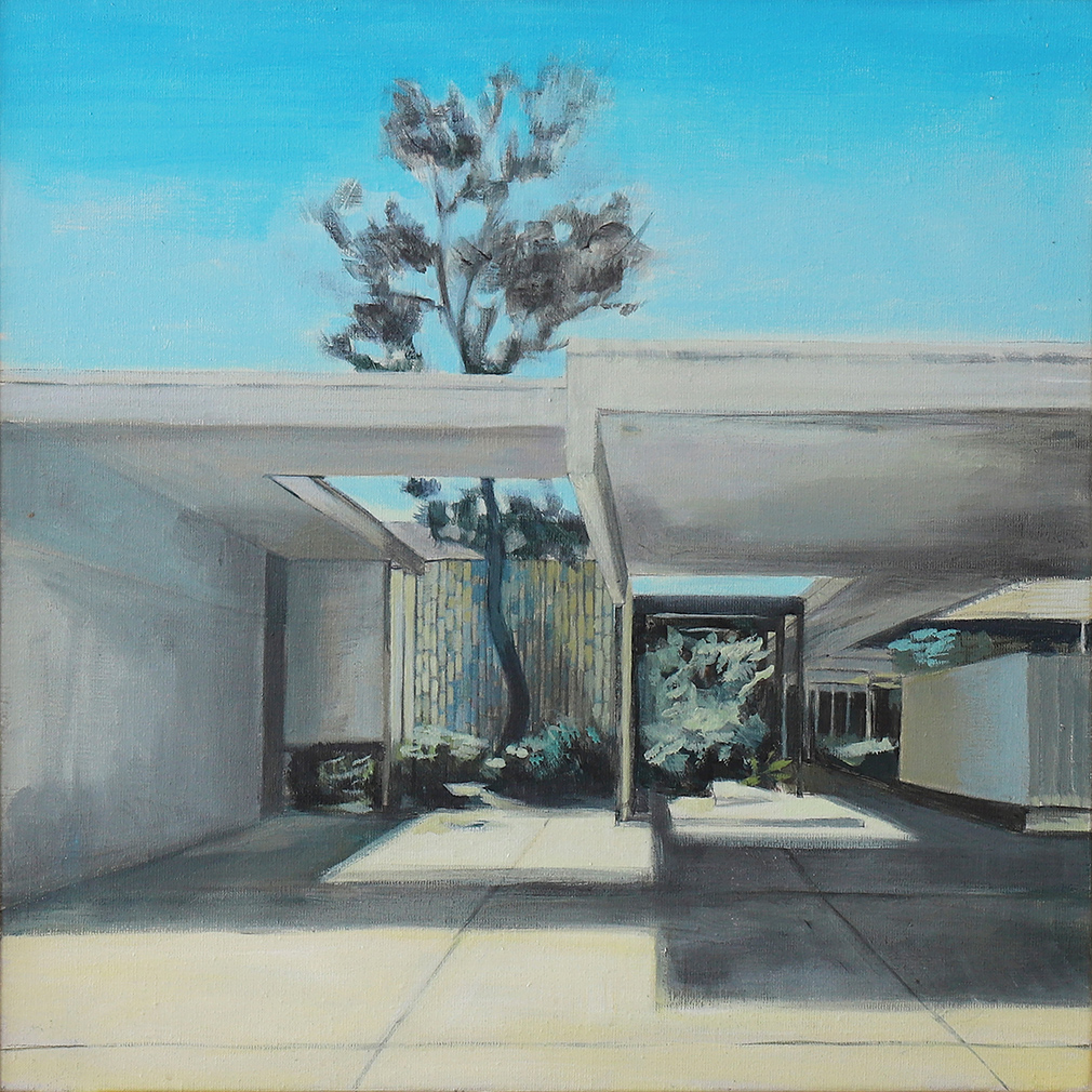 Pine, by Bea Sarrias. 50 x 50 cm. Acrylic on canvas. Mariners Medical Arts Building, Newport Beach (CA), designed by Richard Neutra (1963).
