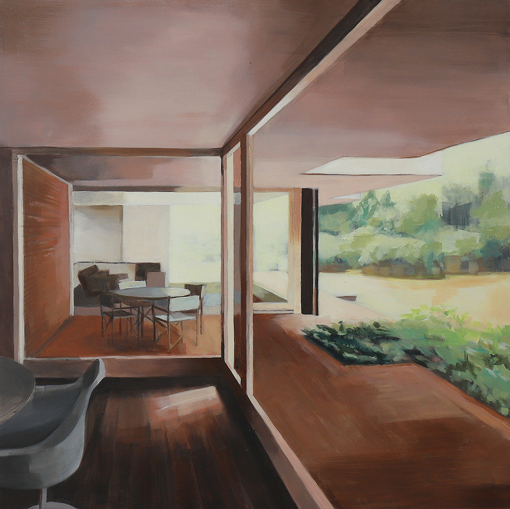 In and out, by Bea Sarrias. 10 x 70 cm. Acrylic on wood. Güell House, in Barcelona, designed by José Antonio Coderch in 1971.