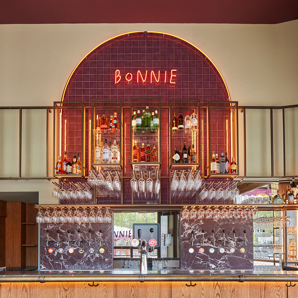 Burgundy tones and tiles set the scene at Amsterdam bistro Bonnie