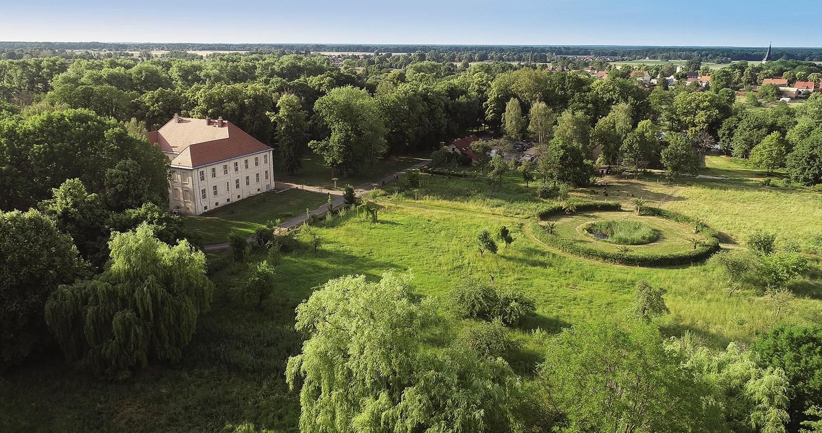 Aerial view of Schlossgut Schwante Sculpture Park. Courtesy of Schlossgut Schwante Sculpture Park.