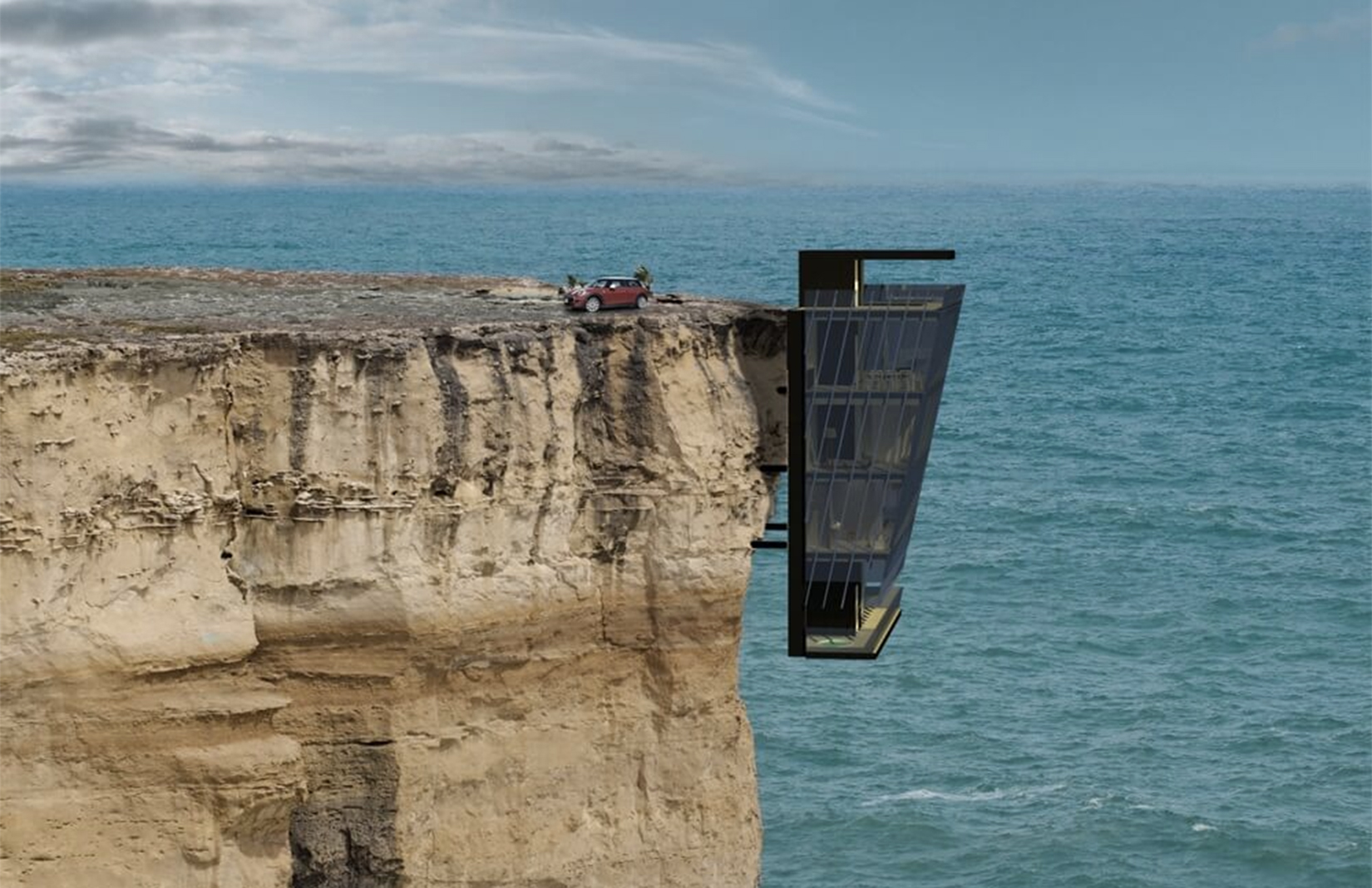Modscape's Cliff House prefab is a parasitic design that appears the dangle over the sea