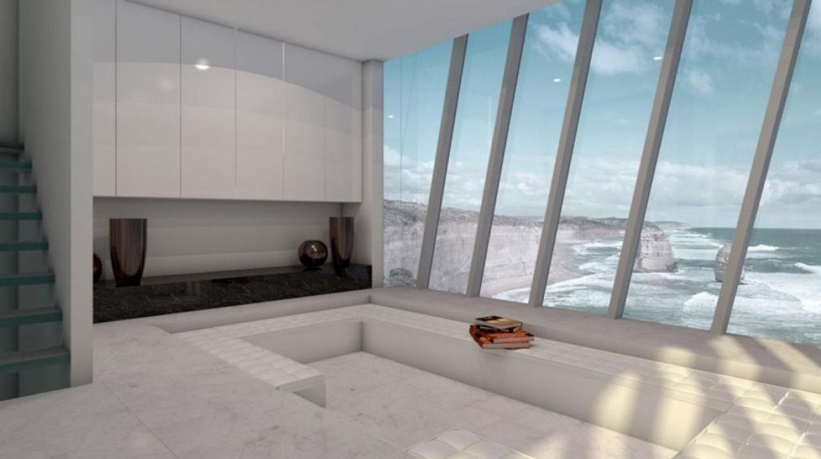 Modscape's prefab features a sunken conversation pit and sleek, all-white interiors.