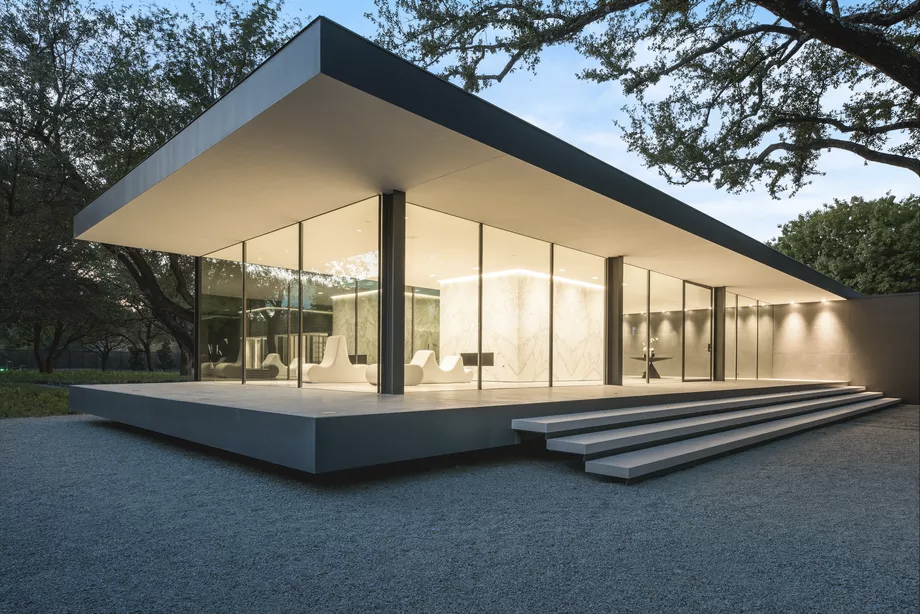 A vast Farnsworth-inspired glass house hits the market in Dallas for $7.5m