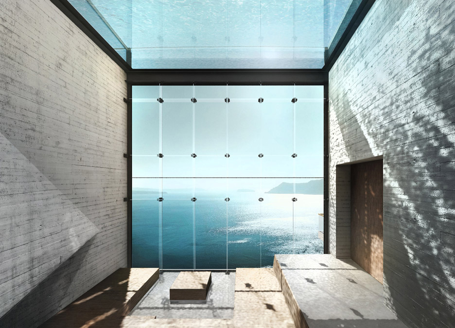 Casa Brutale by OPA features a rooftop swimming pool  with glass bottom that filters light into sunken concrete spaces below.