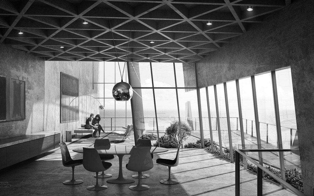 Interiors of Cliff House by Visualising Architecture author Alex Hogrefe. Interiors appear to draw on the midcentury brutalist spaces designed by John Lautner