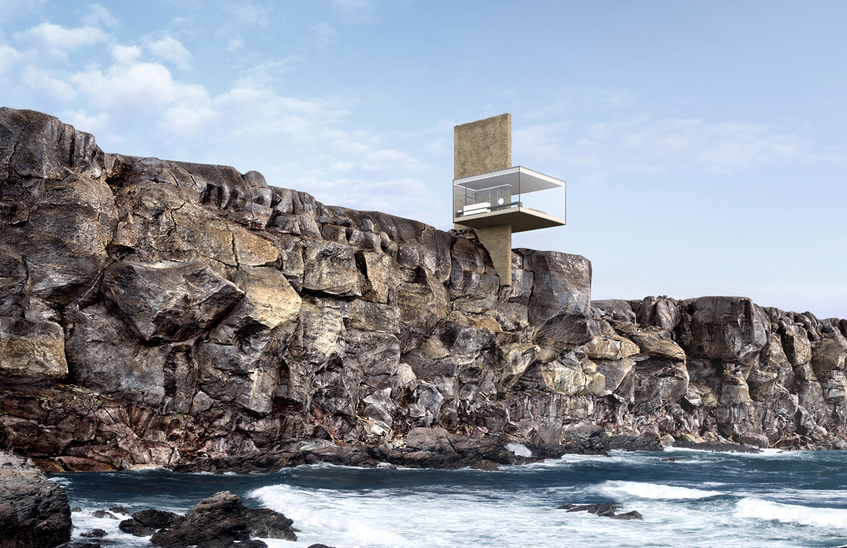 The Air Cabin concept sees a glass box mounted on a concrete pillar to raise it above the clifftop landscape