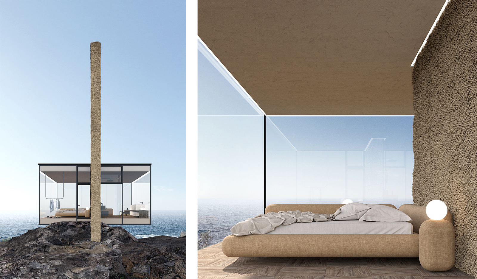 The Air Cabin was designed for a surfer, and features a glass volume anchored by a concrete pillar driven into the rocks Living spaces are purposefully minimal, making the most of the dramatic surrounds and the textures presented by building materials.