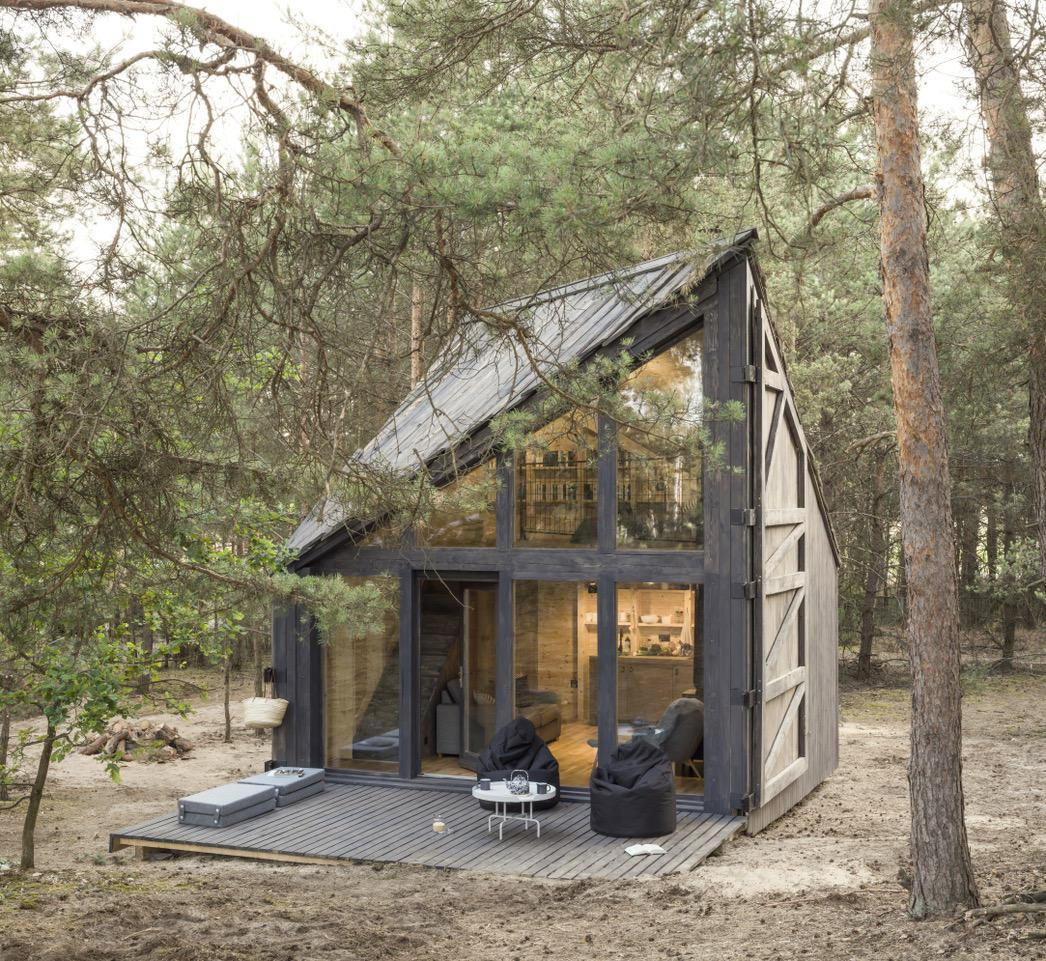 Bookworm Cabin is a miniature library in the woods outside Warsaw