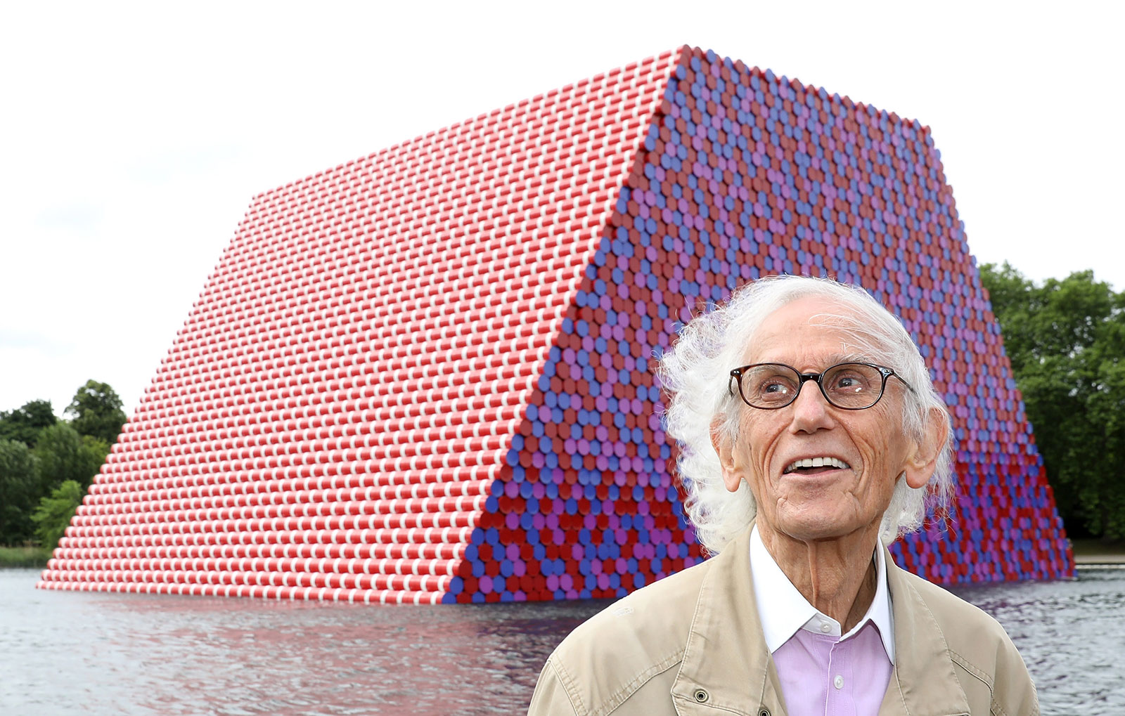 Christo pictured at the <em>London Mastaba,</em> 2018. Photography: Tim Whitby / Getty