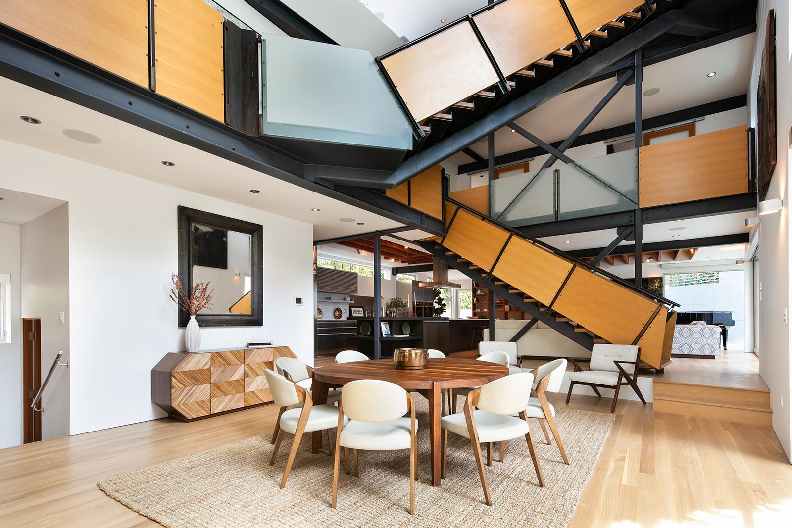 Free-flowing Santa Monica home unfurls around a zig-zag staircase