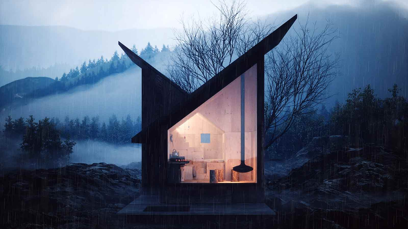 Plywood Mountain Refuge is a minimalist hut that can expand