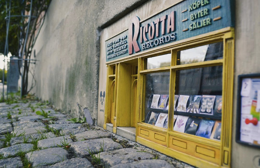 A miniature record shop for mice has opened in Sweden called Ricotta Records