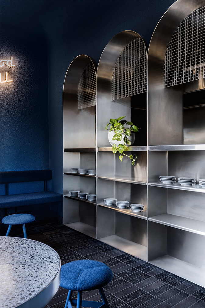 Biasol drenches new Melbourne restaurant Billie Buoy in inky blue