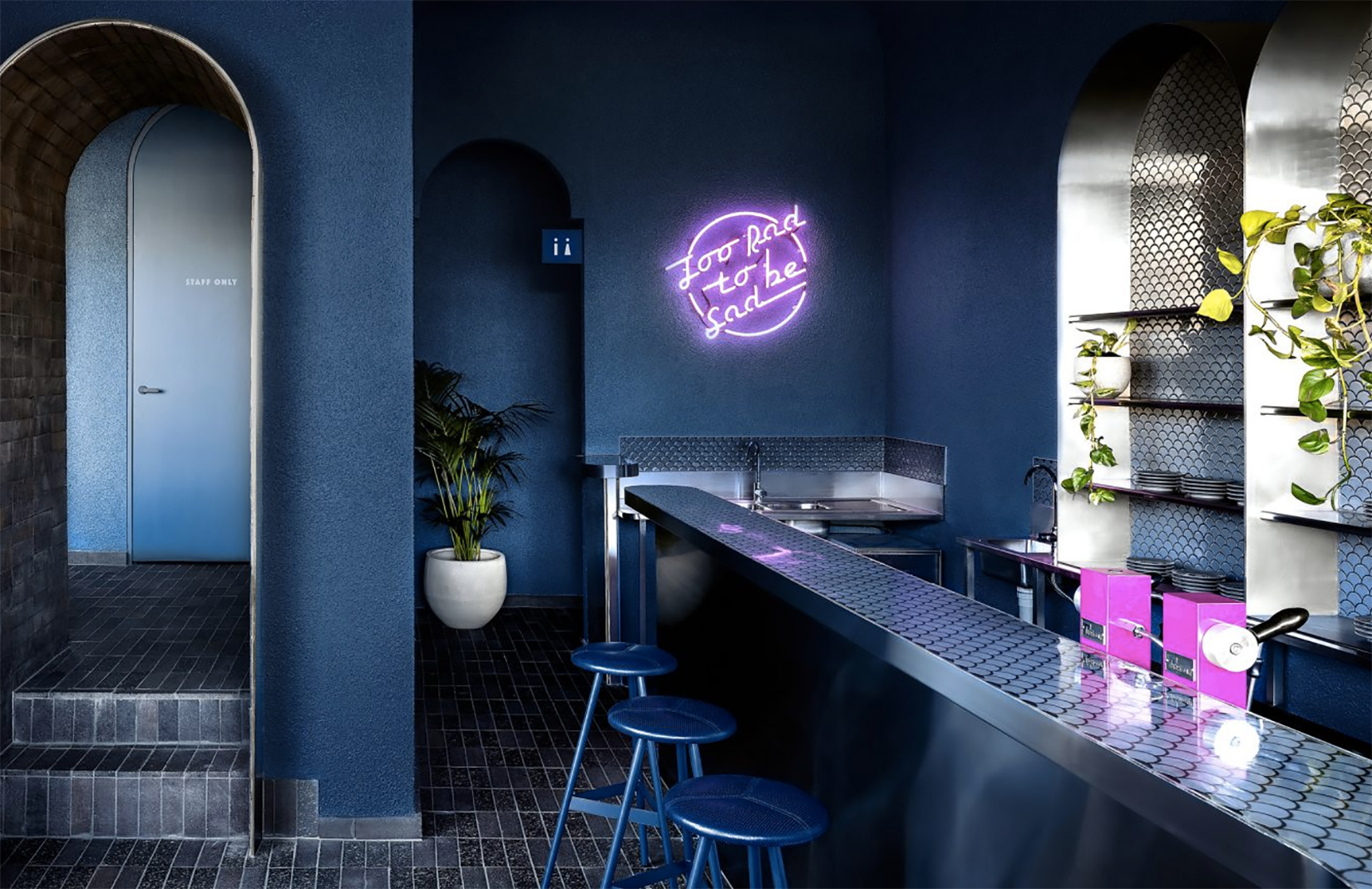 Biasol Drenches New Melbourne Restaurant Billie Buoy In Inky Blue The Spaces