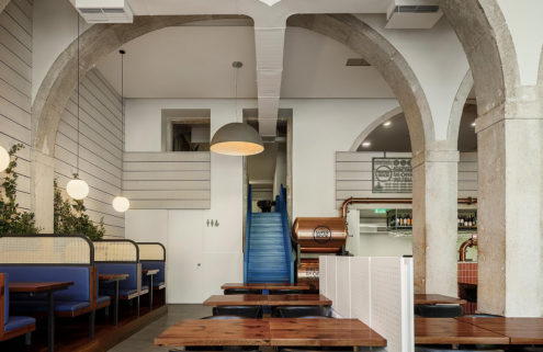 Stone arches crown sleek interiors at Lisbon's Marco restaurant