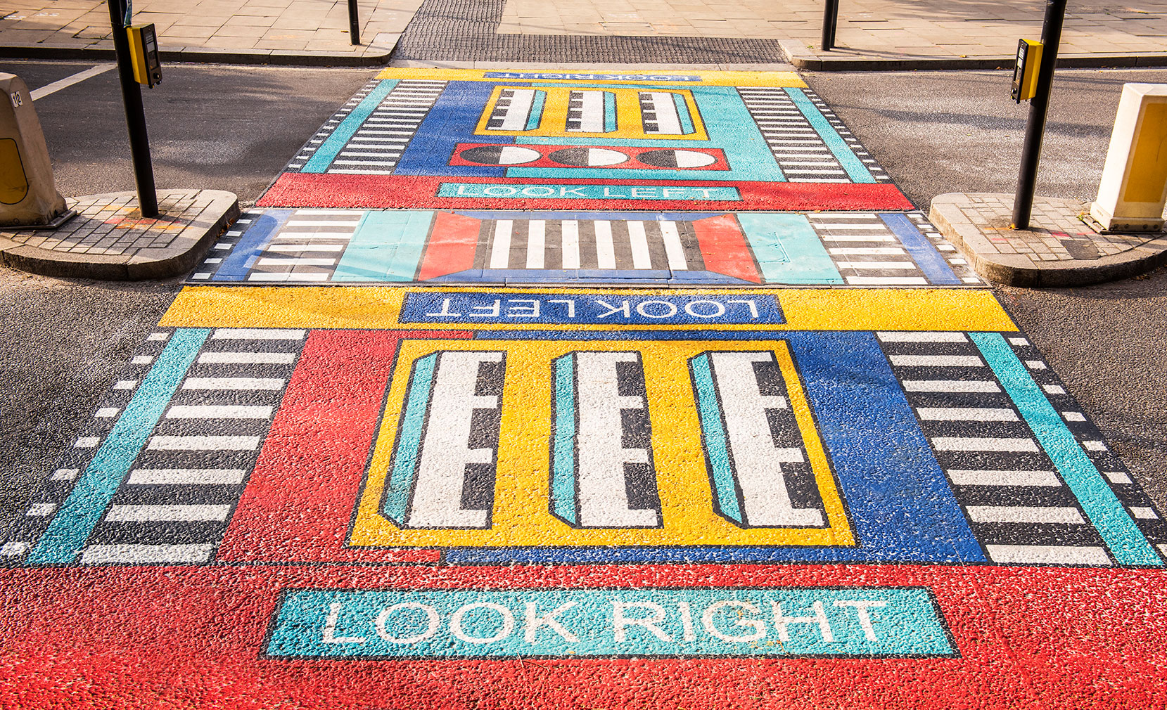 There's an eye-catching new addition to West London's streetscape – French designer Camille Walala has installed a pair of colourful patterned crosswalks at White City Place.