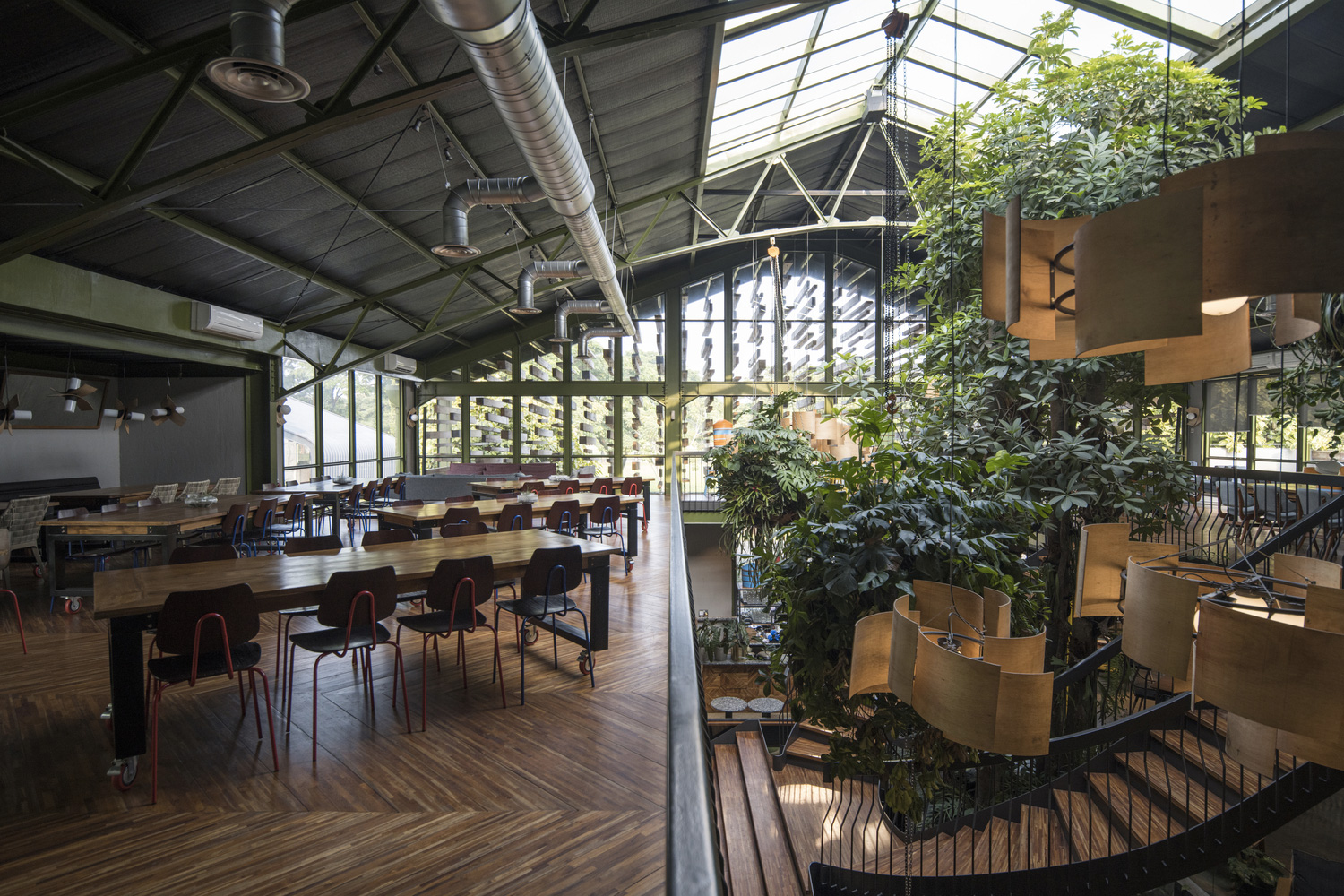 Tropical plants grow inside this jungle-themed restaurant just outside Jakarta
