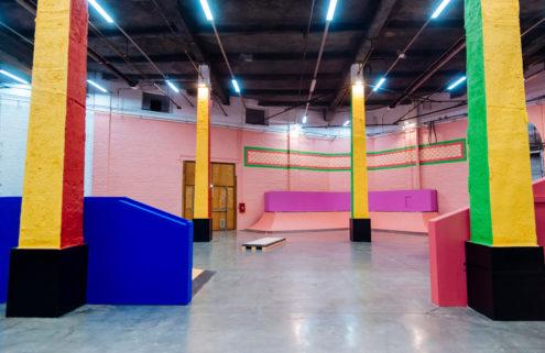 Yinka Ilori drenches Roubaix's skatepark in fluorescent paint