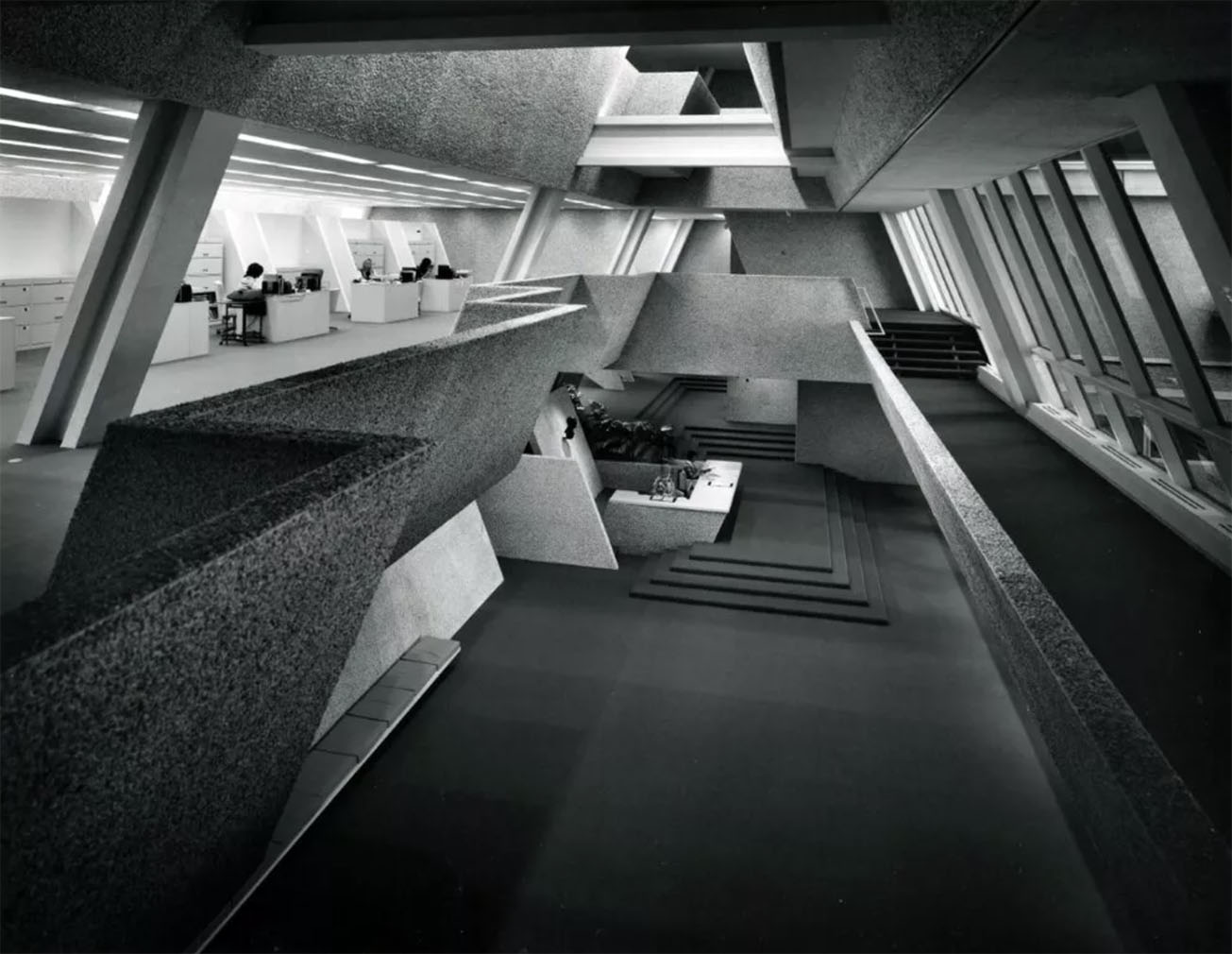 Inside the Wellcome Building's sleek interiors which have also starred on the big-screen in 1980s sci-fi movie Brainstorm