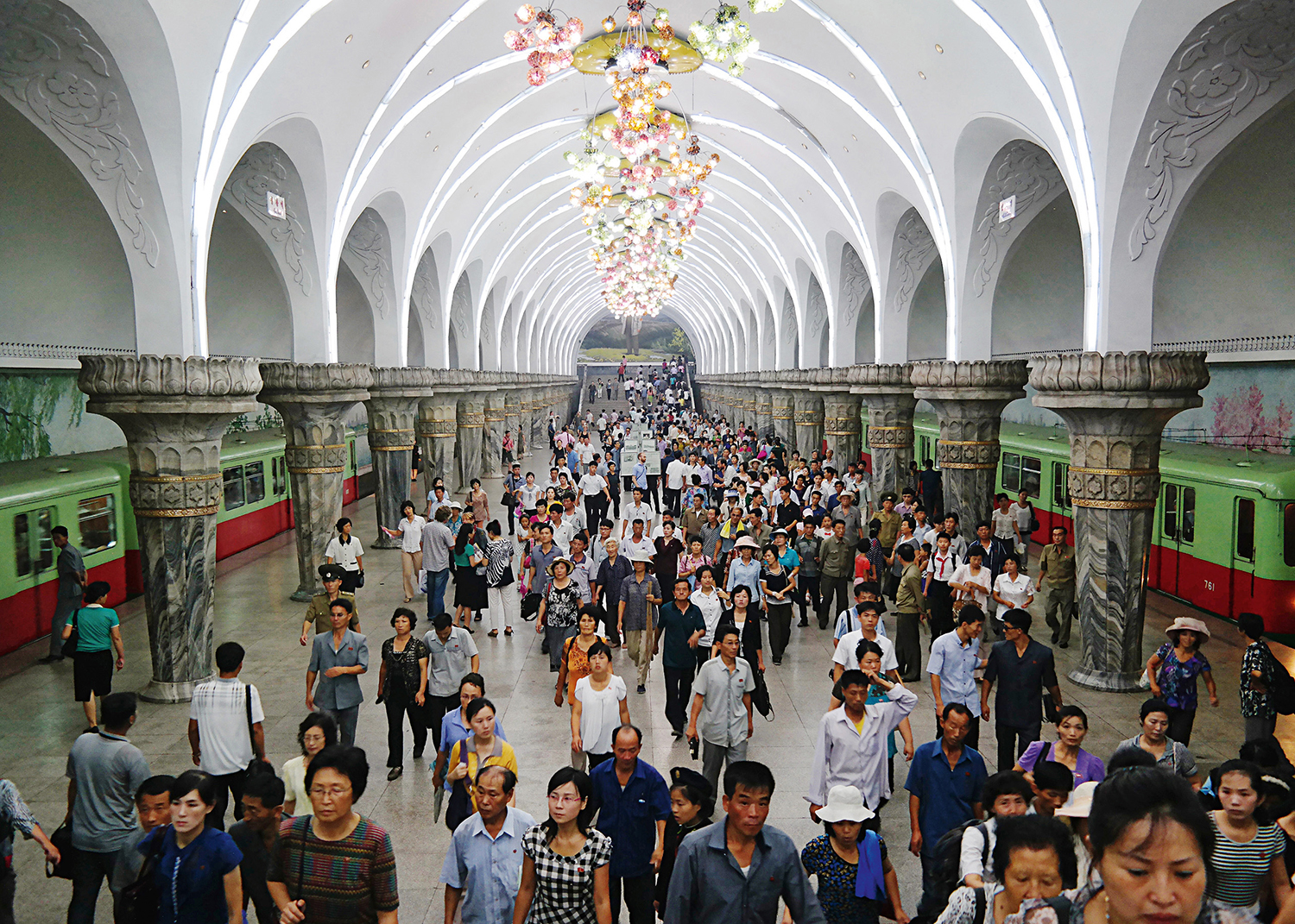 Yonggwang metro was constructed in 1965. It baroque inspired arches and ornate marble and granite flourishes are inspired by Moscow's underground railway system