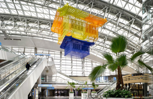 Do Ho Suh floats his fabric houses inside Seoul's Incheon International Airport