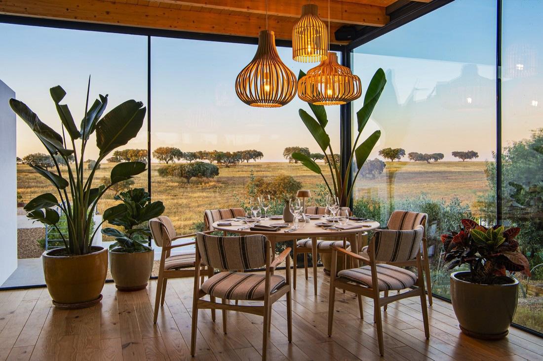 Herdade da Malhadinha Nova restaurant overlooks rolling hills