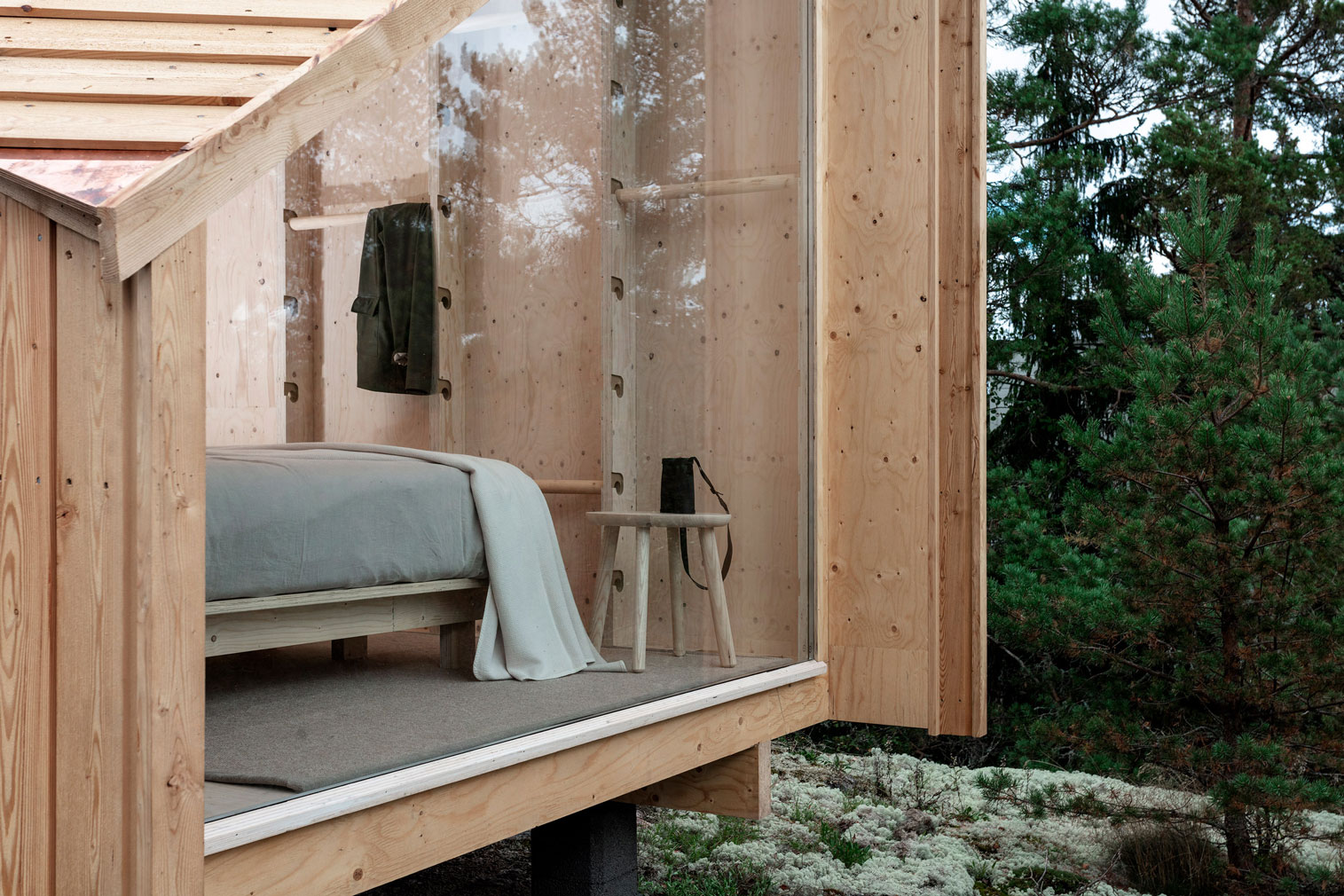This version of Space of Mind cabin sits atop a rocky outcrop