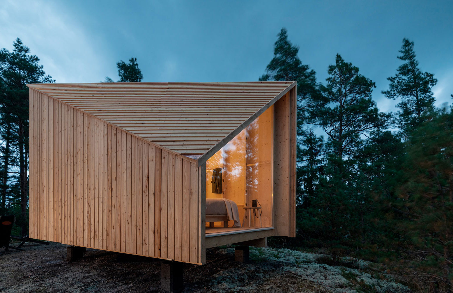 This prefab cabin is light enough to be transported to its final destination by helicopter, allowing it to pop up in secluded spots worldwide.