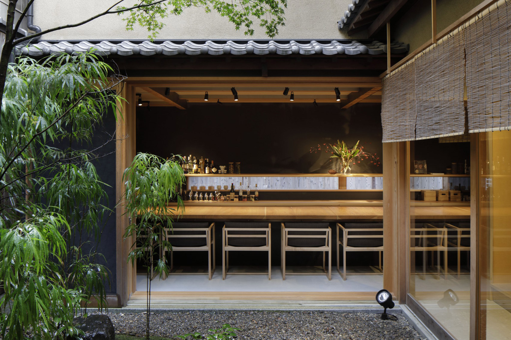 Cedar and cacao infuse the interiors of Kyoto's Dandelion Chocolate cafe